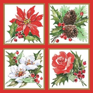 Christmas Flowers With Cherries Decoupage Napkin