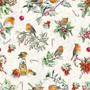 Robins With Christmas Tree Decoration Ornaments Decoupage Napkin
