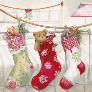 Teddy Hanging On Stocking Decoupage Napkin
