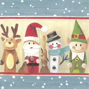 Four Christmas Friends In A Row Decoupage Napkin