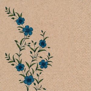 Blue Flowers Decoupage Napkin