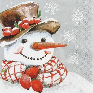 Snowman With Scarf And Cherry Decoupage Napkin