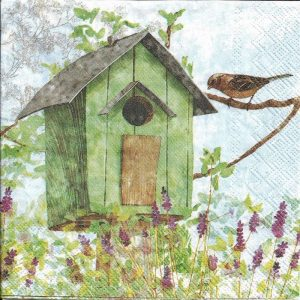 Green Bird House Decoupage Napkin