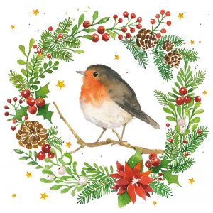 Robin In A Wreath Decoupage Napkin
