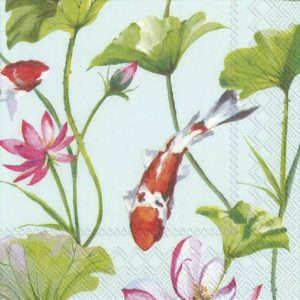 Fish And Flowers In Blue Background Decoupage Napkin