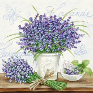 Lavender Flowers In Pot Decoupage Napkin