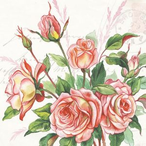Peach Colour Rose With Leaf Decoupage Napkin