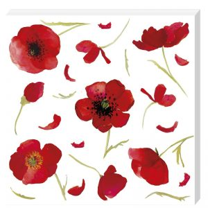 Painted Red Flowers Decoupage Napkin