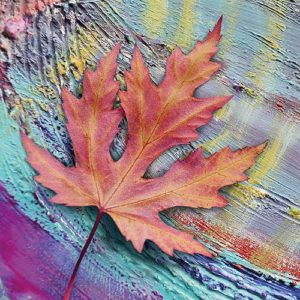 Orange Maple Leaf Decoupage Napkin