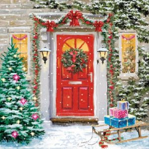 Christmas Decoration On Door Decoupage Napkin