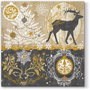 Christmas Deer And Decoration Decoupage Napkin