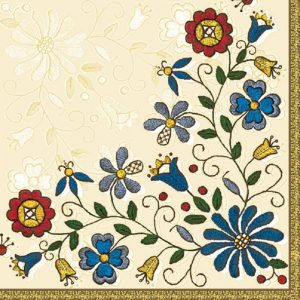 Flower Embroidery Pattern  Decoupage Napkin