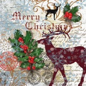 Christmas Deer With Cherries Decoupage Napkin