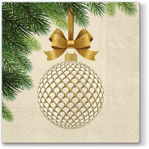 Golden Bauble Decoupage Napkin