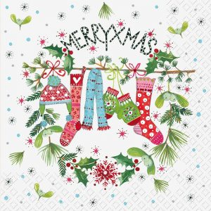 Merrry Christmas Hanging Stocking Decoration Decoupage Napkin