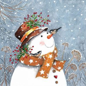 Snowman With Scarf And Birds Decoupage Napkin