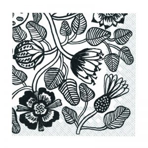 Black & White Flowers Decoupage Napkin