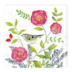 A Bird With Pink Rose And Leaf Decoupage Napkin