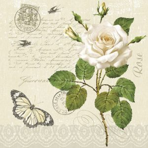 White Roses With Butterfly Decoupage Napkin