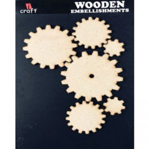 Laser Cut Gear Pattern Wooden Embellishment