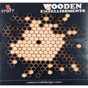 Laser Cut Honeycomb Pattern Wooden Embellishment
