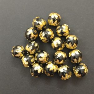 Round Meenakari Beads - Black