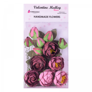 Handmade Cabbage Rose – Merlot Mix