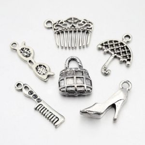 Silver Alloy Women's Theme Charms Set