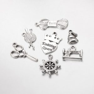 Silver Alloy Knitting Theme Charms Set
