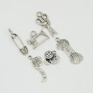 Silver Alloy Sewing Theme Charms Set