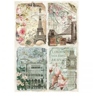 Stamperia Rice Paper - Packed Vintage Postcards