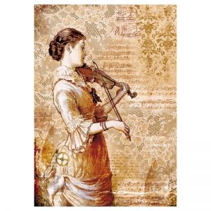 Stamperia Rice Paper - Packed Packed Steampunk Woman With Violin