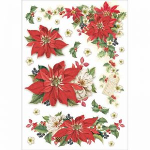 Stamperia Rice Paper - Packed Christmas Poinsettia