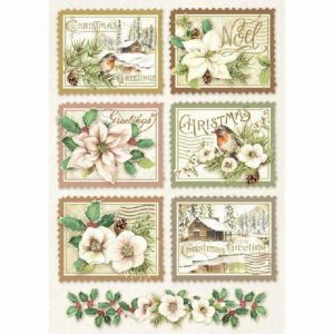 Stamperia Rice Paper - Packed Winter Botanic Stamps