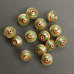 Round Meenakari Beads - Green With Maroon