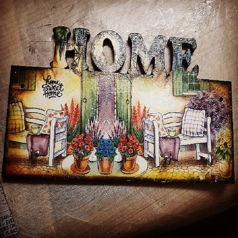 Decoupage On HOME Keychain Holder by Anamika Sarkar