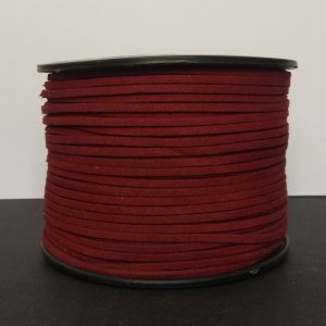 Dark Red Flat Faux Suede Leather Cord