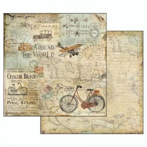 Stamperia Double Face Paper - Around The World Tour Bike