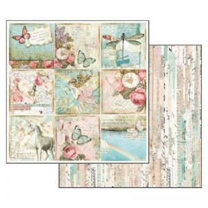 Stamperia Double Face Paper - Wonderland Butterflies And Unicors Cards