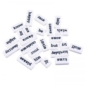 White Acrylic Word And Sentimental Tile Beads