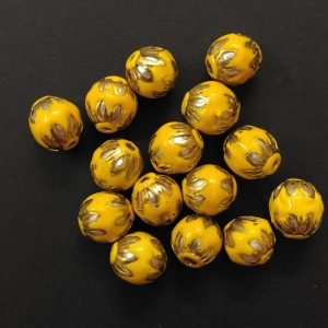 Round Meenakari Beads - Yellow
