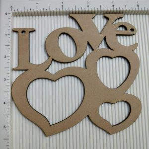 Love With Heart Shape MDF Cutout