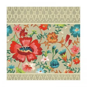Flowers In Beige Background Decoupage Napkin
