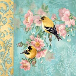 Yellow Birds In Teal Background Decoupage Napkin