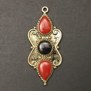 Gold Red With Black Flower Pendant