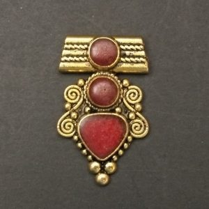 Gold Triangle Red Stone Pattern pendant