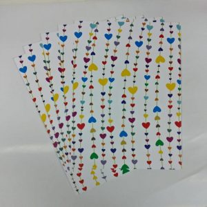 Mixed Colour Lines Hearts Pattern Paper