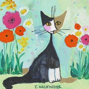 Black Cat And Flowers Decoupage Napkin