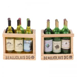 Miniature Wine Bottles In A Wooden Crate