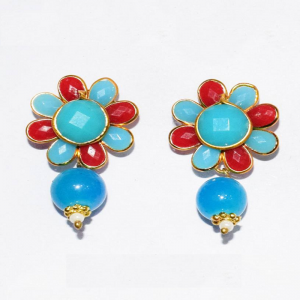 Red With Sky Blue Pachi Earrings